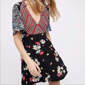 Free people black combo floral dress print dress